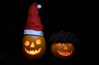 Helloween pumpkin couple santa Claus