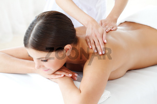 Woman at massage in a spa center