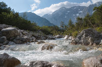 Clear fresh mountain river splashing in the alpine landscape, Mieming, Tirol, Austria