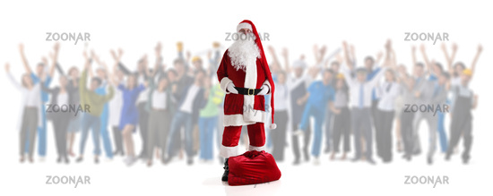 Santa Claus and happy people