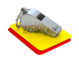 Metal whistle, yellow and red card 3D