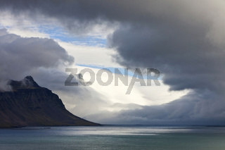 Dramatic seascape of the Northeast Fjords of Iceland