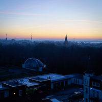 View over Warnemuende on German Baltic Sea coast in early morning