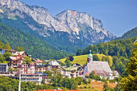 Town of Berchtesgaden and Alpine landscape view