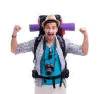 Backpacker with camera isolated on white background