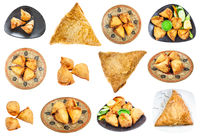 set of various Samsa and Samosa dishes isolated