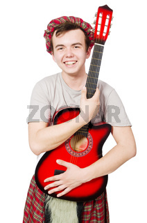 Scotsman playing guitar isolated on white