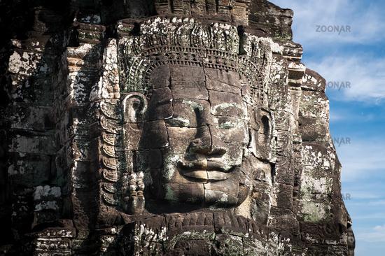Buddha faces of Bayon temple. Angkor Wat, Cambodia