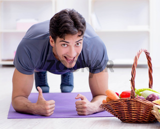 Man promoting the benefits of healthy eating and doing sports