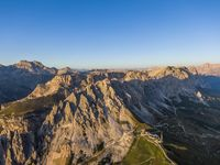 Aerial view of Pizes de Cir mountain range and Gardena Pass, Italy