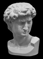 Headf of statue of David sculpture by Michelangelo. Antique marble face isolated on black