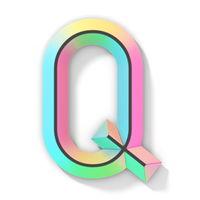 Neon color bright font Letter Q 3D