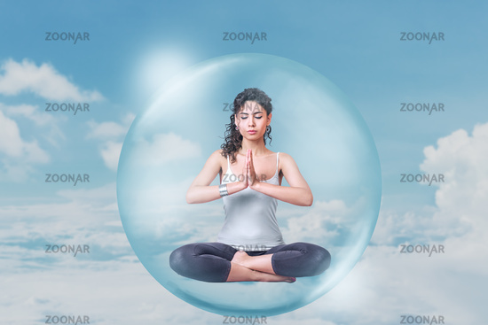 Abstract design of young woman doing yoga meditation concept.