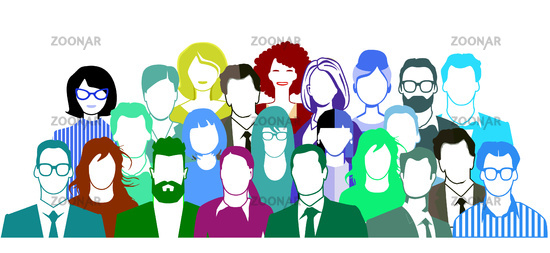Group of people portrait, team group - vector illustration