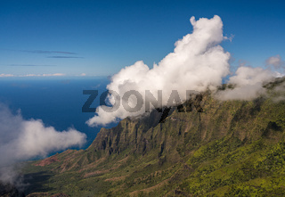 View of the fluted rocks of the Na Pali coast from the Kalalau overlook on Kauai, Hawaii