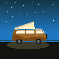 Yellow rv camp van at night outdoors. Tent for cars. Nomad lifestyle. Responsible sustainable local travel