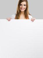 Woman with a big blank board