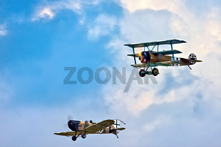 Fokker Triplane  and Junkers CL1 (Great War Team) Aerial Display at Biggin Hill Airshow