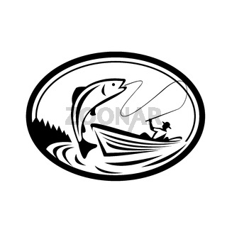 Fly Fisherman Fishing Boat Reeling Trout Oval Retro Black and White