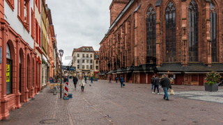 Street Scenario of Main Street in Downtown of City Heidelberg, Baden-Wuerttemberg, Germany. Europe