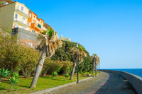 Couple empty promanade Madeira island