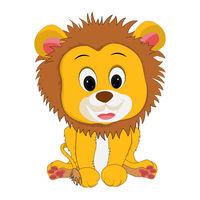 Drawing of a lion cub in cartoon style.