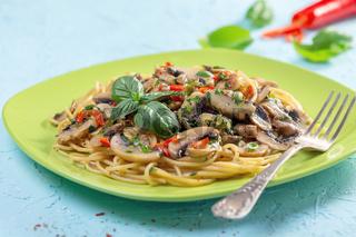Italian pasta with mushrooms.
