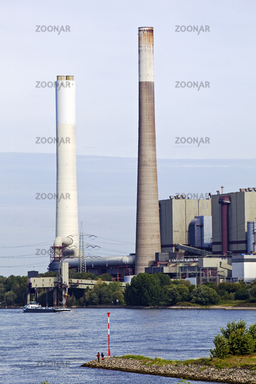 The decommissioned power plant Voerde am Rhein with its 250 meter high chimney, Dinslaken, Germany