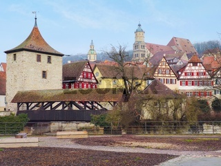 Cosy little town called Schwaebisch Hall in Southern Germany