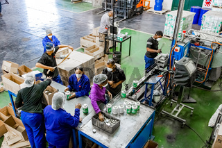Diverse people working on an assembly line in a glue factory
