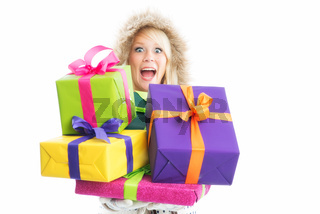 frau mit vielen geschenken