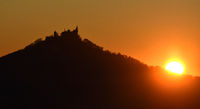 sunset behind the castle Hohenzollern, swabian alb