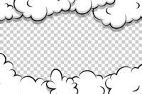 artoon puff cloud template on transparent background