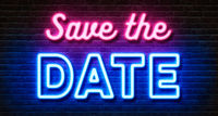 Neon sign on a brick wall - Save the date