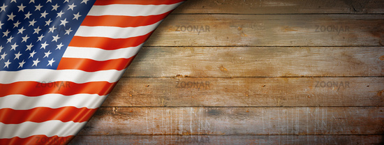 United States flag on vintage wood wall banner