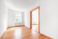 empty room in renovated apartment flat  with wooden boardfloor and white walls