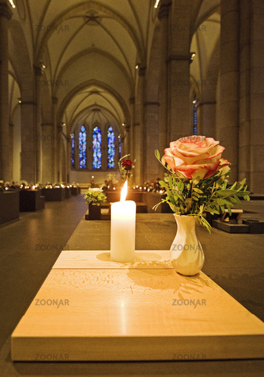 A grave in the Church of the Holy Sepulcher Liebfrauen, Dortmund, Ruhr Area, Germany, Europe
