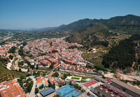 Moixent townscape aerial view. Spain
