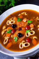 Czerninaa with noodles is a traditional Polish soup