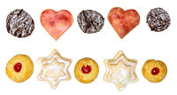 colorful mix of homemade christmas cookies biscuits isolated on white