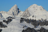 Rochers des Rayers and Rellerli. Mountains of the Swiss Alps.