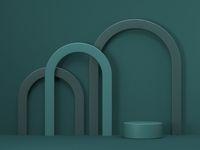 Mock up podium for product presentation three arcs 3D