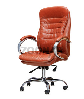 The office chair from orange leather. Isolated