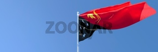 3D rendering of the national flag of Papua new Guinea waving in the wind