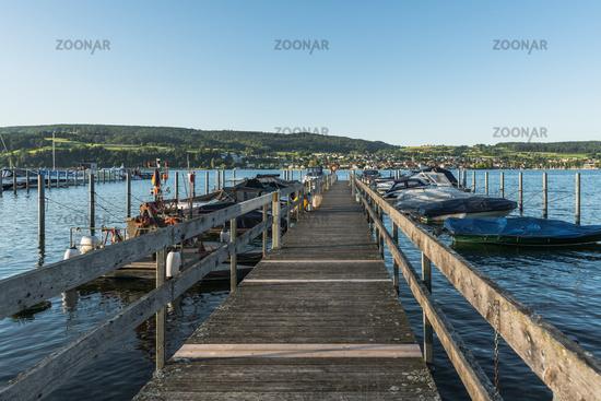 Harbor in Gaienhofen, Hoeri peninsula, Lake Constance, Baden-Wuerttemberg, Germany