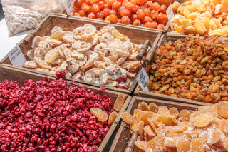 Candied fruit stall in the market in Gordes