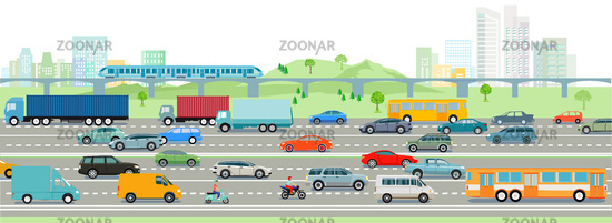 Highway and big city illustration