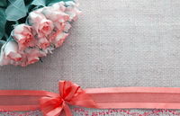 Valentine's day background with roses and loop isolated on brown .