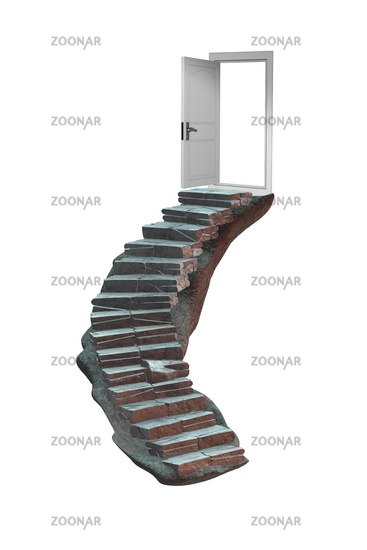 Concept of career ladder and the door - 3d rendering