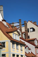 Riga. Bright houses on the Livu Square (Livu - small Baltic-Finnish people who in ancient times inha